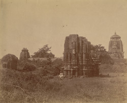 Panoramic view of a group of temples by the roadside, Bhubaneshwar (left-hand section)
